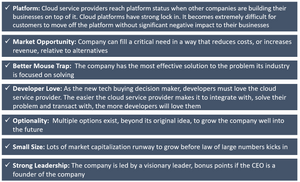Characteristics of High Growth Potential Cloud Platform Service Stocks
