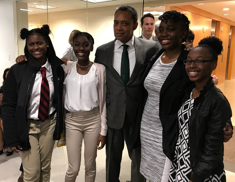2017 Summer High School Business Competition Winners seen with Attorney General Karl Racine at JAMS
