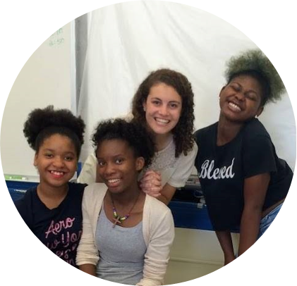 Grace with mentees, all ninth grade students who she began mentoring in 4th grade.