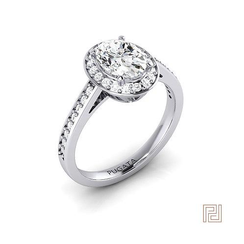 Oval 18ct White Gold Shoulder Set Halo Ring