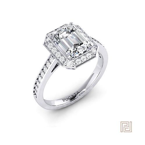 Emerald Cut 18ct White Gold Shoulder Set Halo Ring