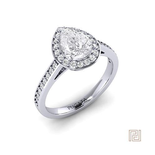 Pear Platinum Halo Shoulder Set Ring