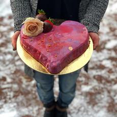 Mirror Glaze Heart Cake