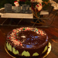 Mint Chocolate Candy Cane Crackle Cheesecake
