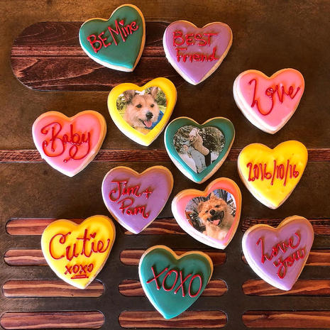 Custom Flooded Heart Cookies w Images
