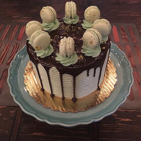 Chocolate Pistachio Drip Cake