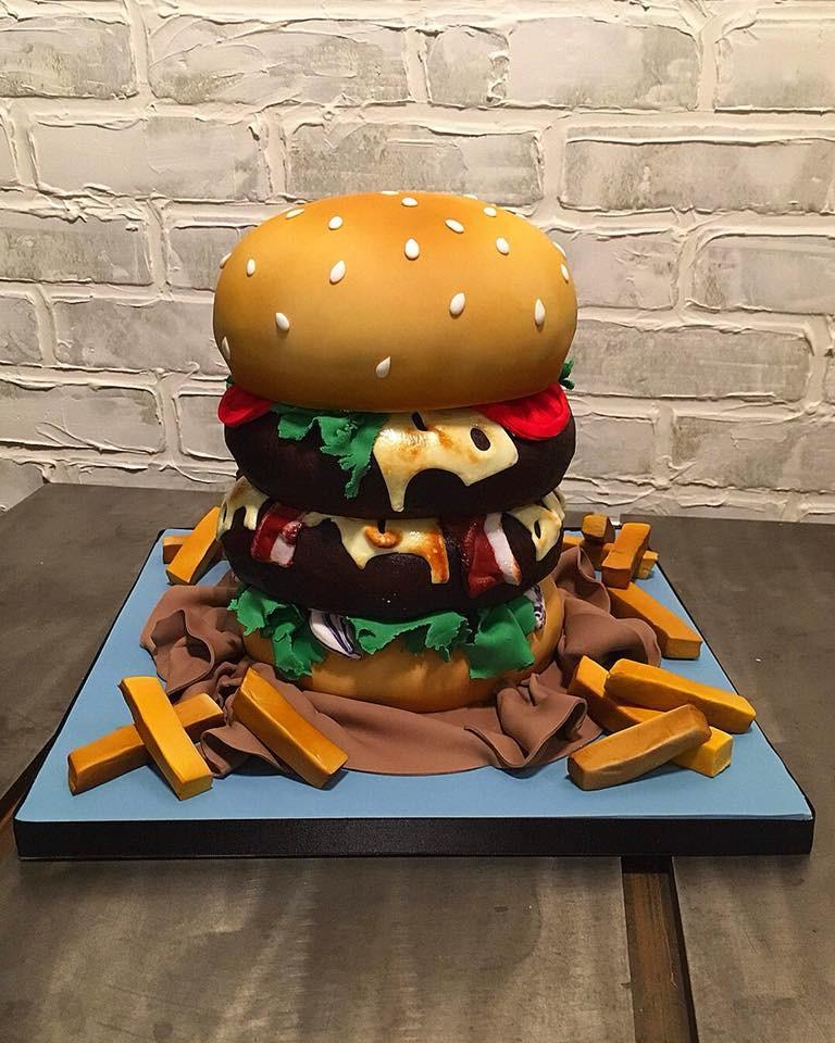 Swell Hamburger Birthday Cake Funny Birthday Cards Online Inifodamsfinfo