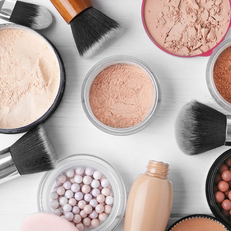 Stunning cosmetic product photography: makeup products and brushes with white background captured at our studio in Dubai.