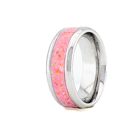 Cremation Jewelry -Ring - Carnation Pink Opal