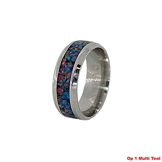 Cremation Jewelry - Ring - Multi teal opal OP 1 - Memorial Ashes ring