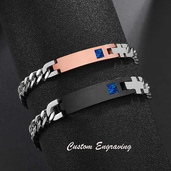 Stainless Steel Custom Engraved Cremation Bracelet