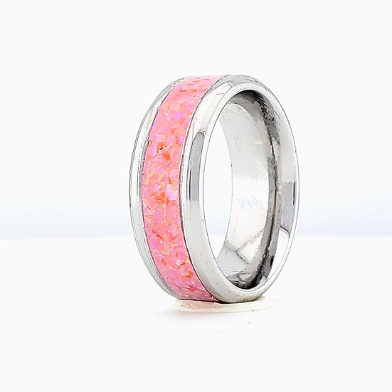 Cremation Jewelry - Ring - Carnation Pink Opal  OP 58