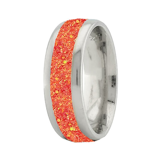 Cremation Jewelry - Ring - Sleepy Fire Opal  OP47