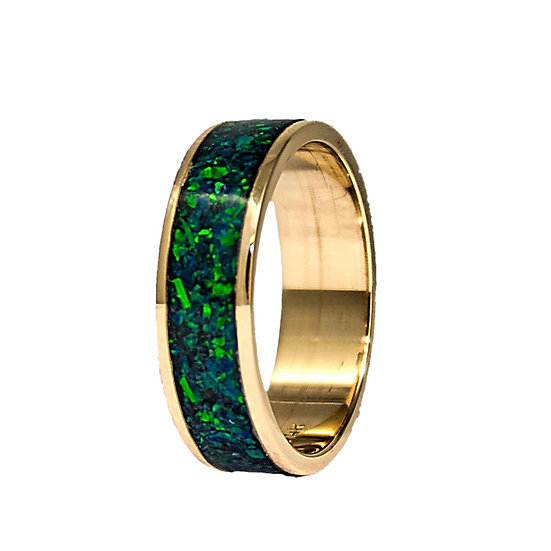 Cremation Jewelry - Ring - 14 k Gold Inlaid with ash and Opal
