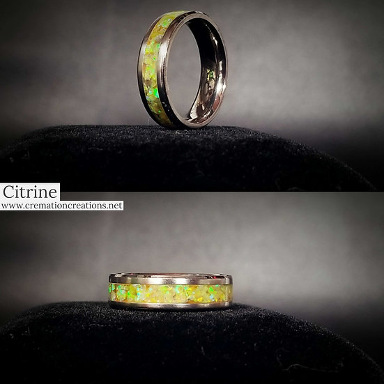 Cremation Jewelry - Ring - Citrine Opal OP28