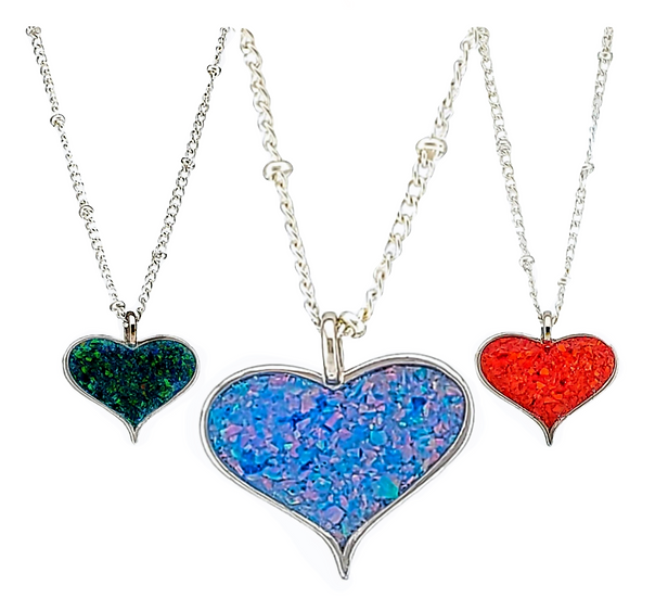 Cremation Jewelry - Pendant - Large Heart Shaped with opal any color