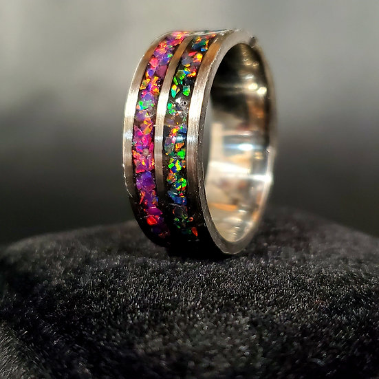Double Channeled Stainless Opal Ring