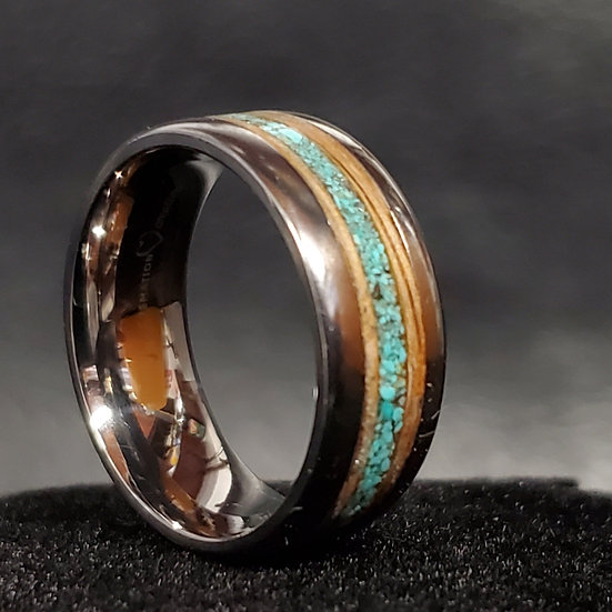 Cremation Jewelry - Ring - Whiskey Barrel Wood And Stone