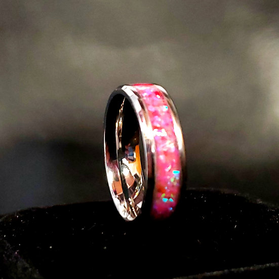 Cremation Ring - Ring - Hot Pink Opal OP 43