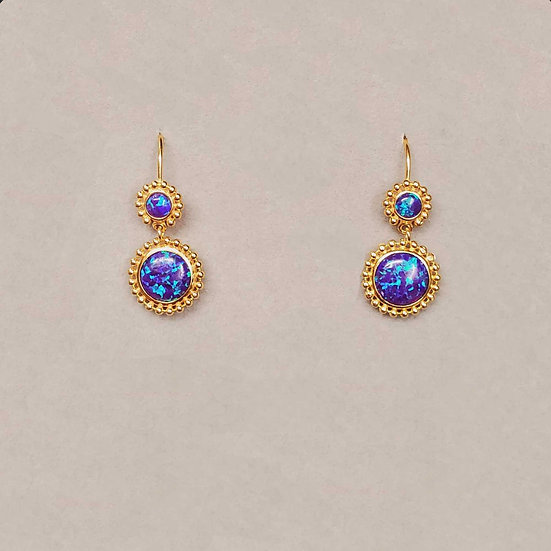 Gold Dangling Opal Earrings