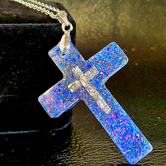 Cremation cross pendant inlaid with ashes and crushed opal