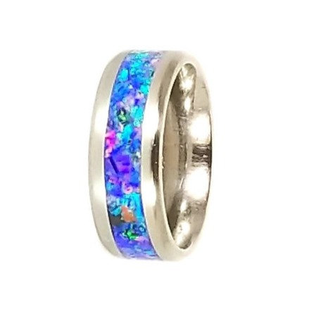 Cremation jewelry - Ring - Northern Lights Opal