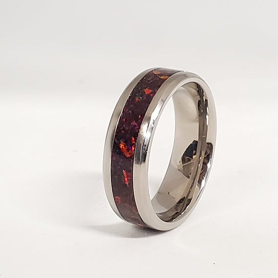 Cremation Jewelry - Ring - Black Opal #6  OP 71