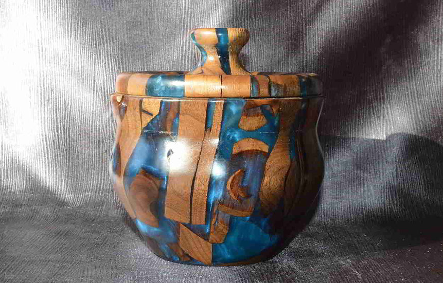 Greek Hydria Walnut and resin with blue pearl pigment