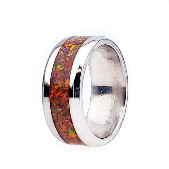 Cremation jewelry - Ring -Black Cherry Opal  OP 15