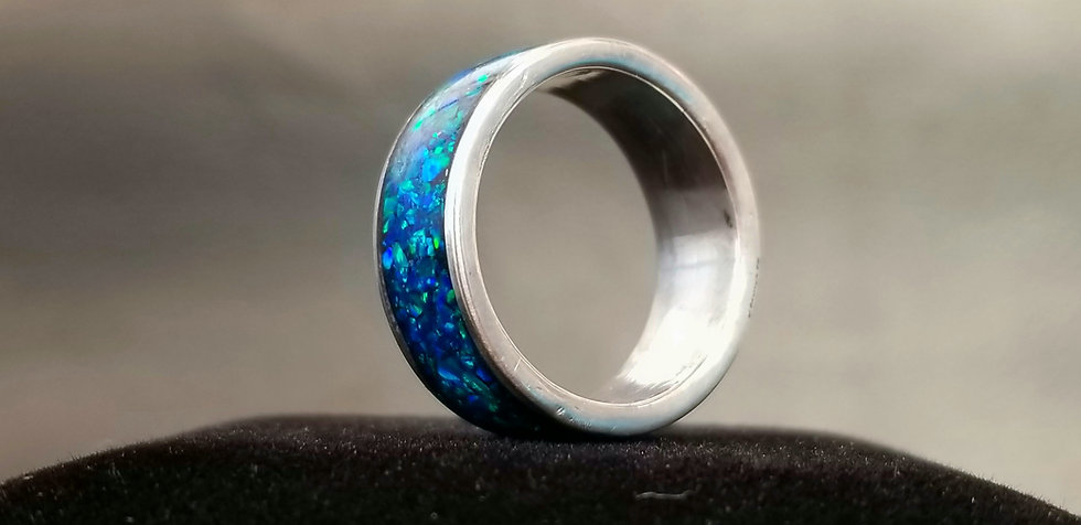 Mexican Royal Blue Opal inlaid into Sterling Silver core ring