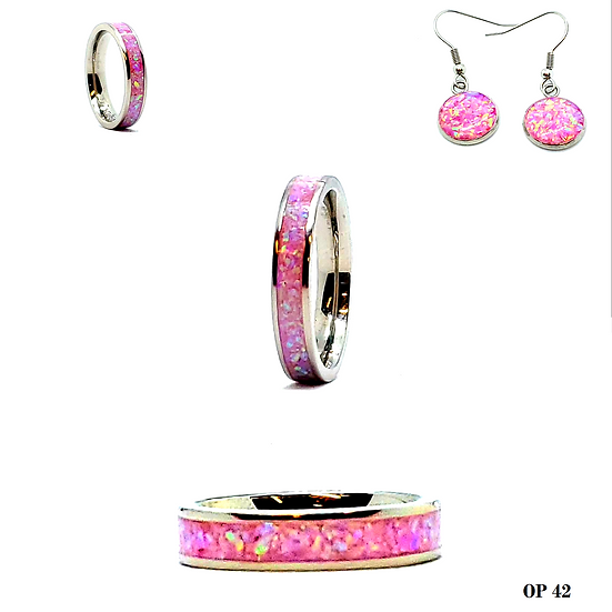 Cremation Jewelry - Ring - Royal Pink Opal OP 42