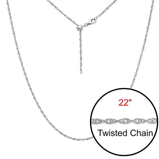 """Twist Adjustable Designer Silver Chain Jewelry 22"""""""
