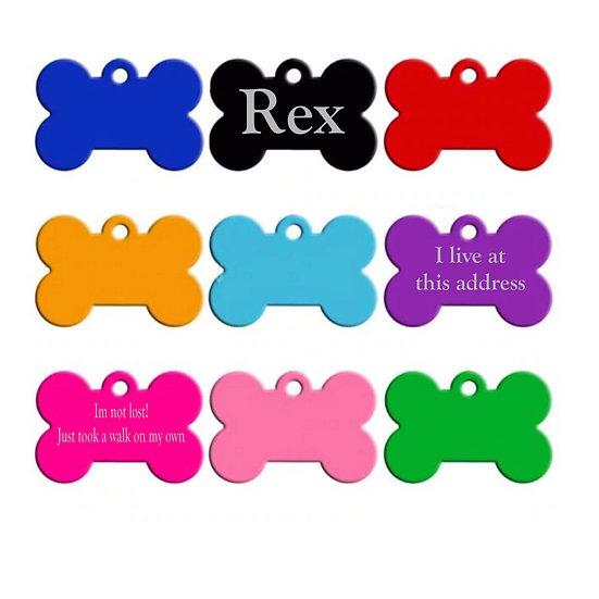 Personalized Aluminum Dog Pet Tags Bone