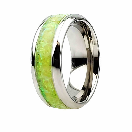 Cremation Jewelry - Ring - Lime Green Opal  OP 12
