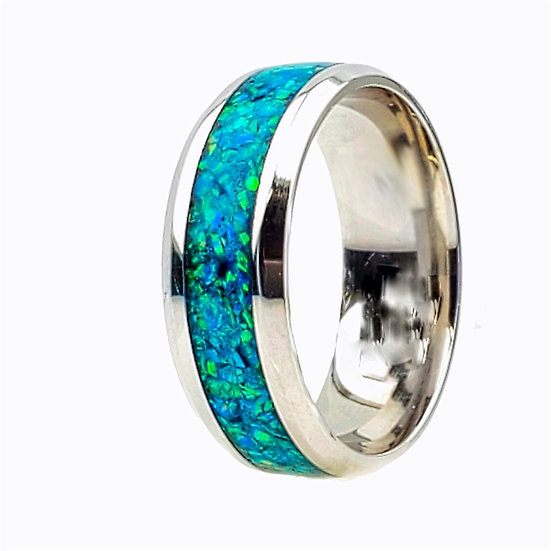 Cremation jewelry - Ring - Marine Opal OP 2 - Memorial Ashes ring