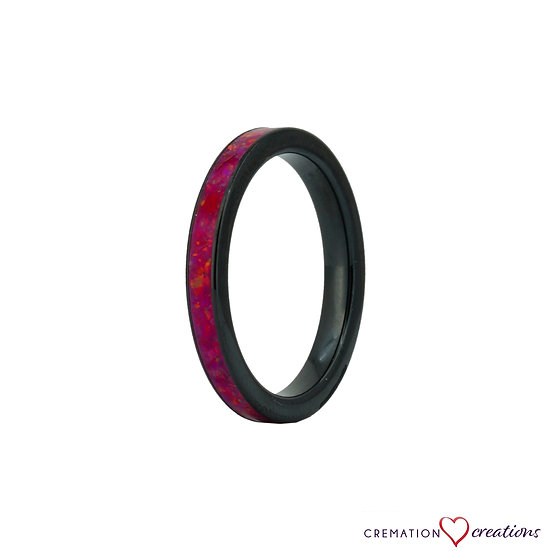 Thin and Dainty Cremation Ring - 3mm - Black Ceramic