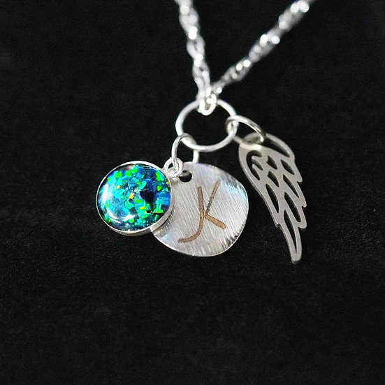 Cremation Initial Charm Opal and Wing Pendant