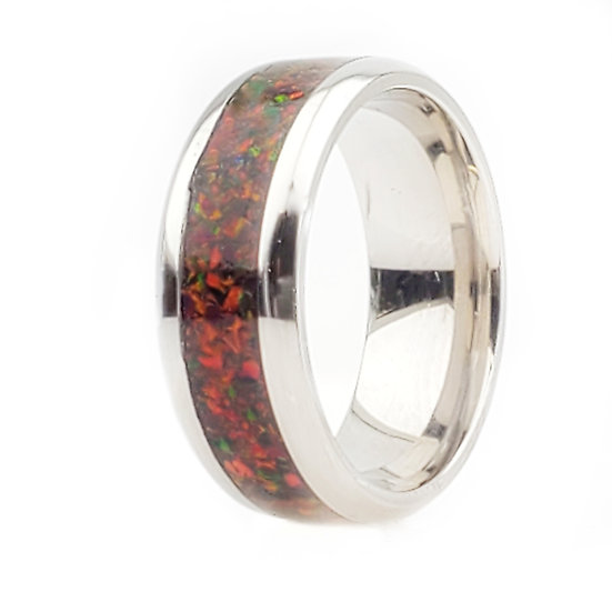 Cremation Jewelry - Ring - Multi Cherry Opal OP 20