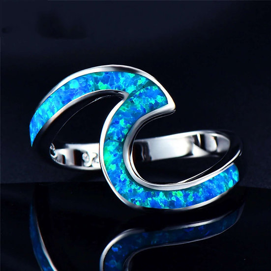 Sterling Silver Wave Ring with Blue Opal Inlay- Not standard Cremation Ring