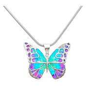 silver cremation butterfly pendant necklace with ashes and crushed opal on silver chain