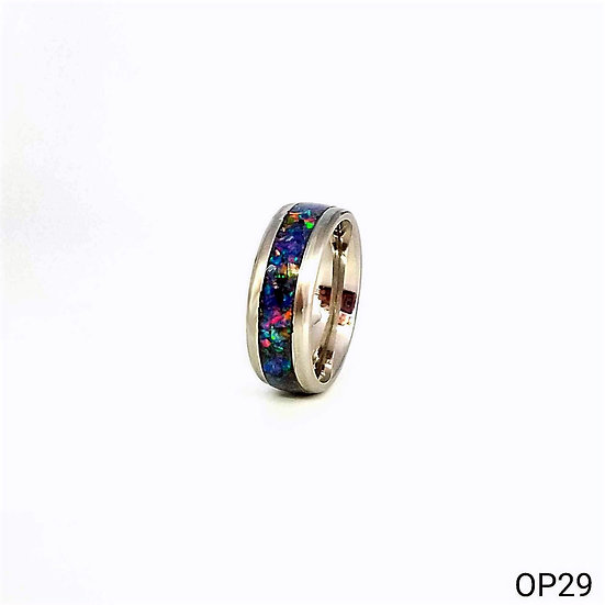 Cremation Jewelry - Ring - Space Blue Opal OP29