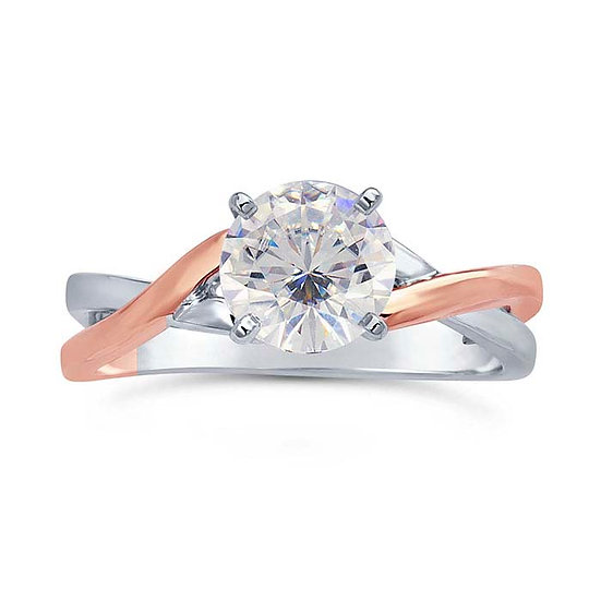14K White Gold 1-Ct. Round Solitaire Ring with Rose Gold Accent