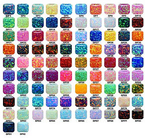 Synthetic Crushed Opal Color Chart for jewelry and ring making opal