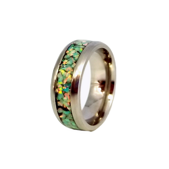 Cremation Jewelry - Ring - Moon Yellow Opal