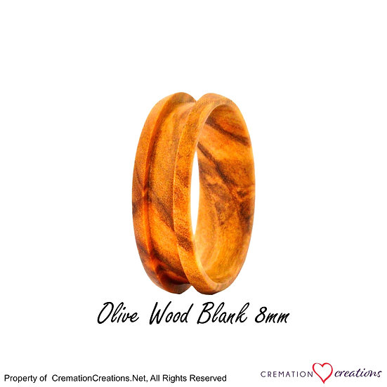 Olive Wood Ring Blank  -   8mm