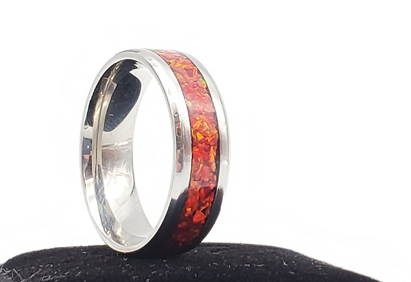 Cremation Jewelry - Ring - Multi Fire Opal  OP 37