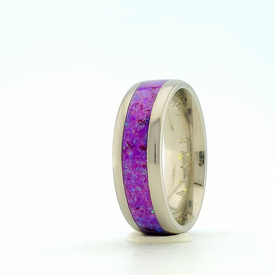 Cremation Jewelry - Ring - Sleepy Lavender Opal  Op 51