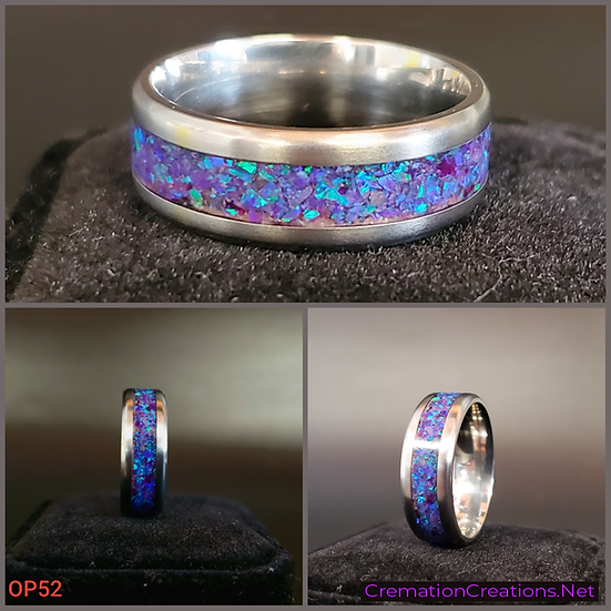 Cremation Jewelry - Ring - Sleepy Lavender #2 Opal  OP 52