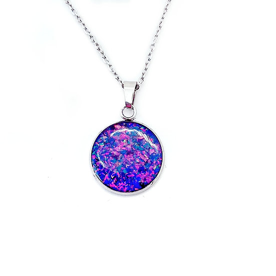 """Cremation Pendant 1"""" Round w/ ashes ans Opal."""