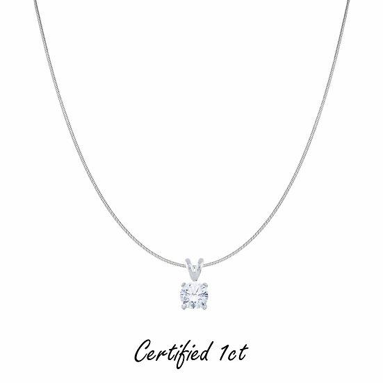 Enchanted Destiny  1 CT. T.W. Certified Diamond Solitaire Pendant
